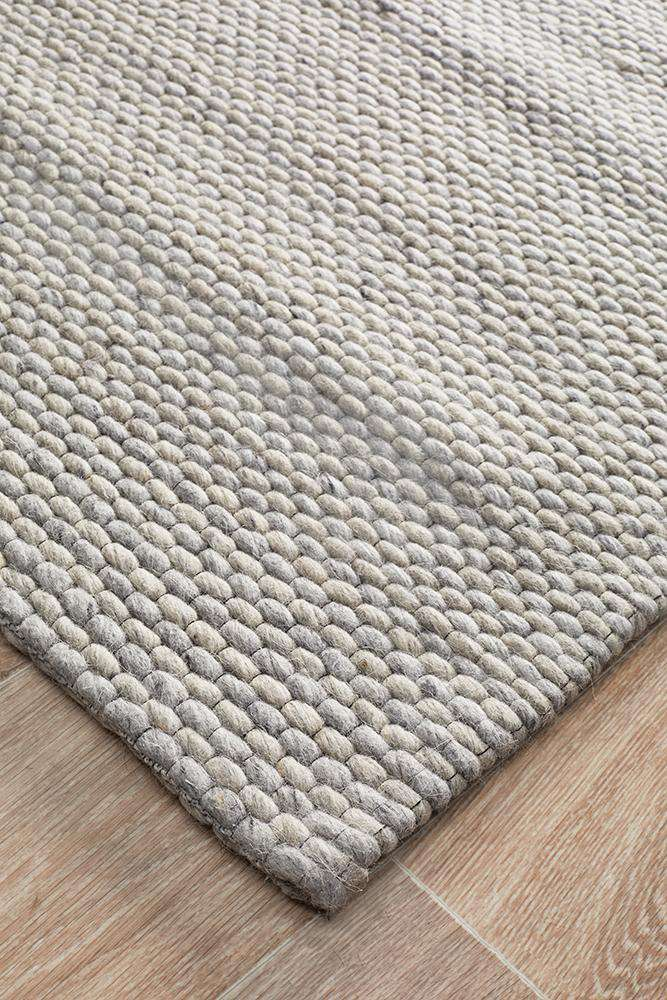 Studio Oskar Felted Wool Striped Rug Grey