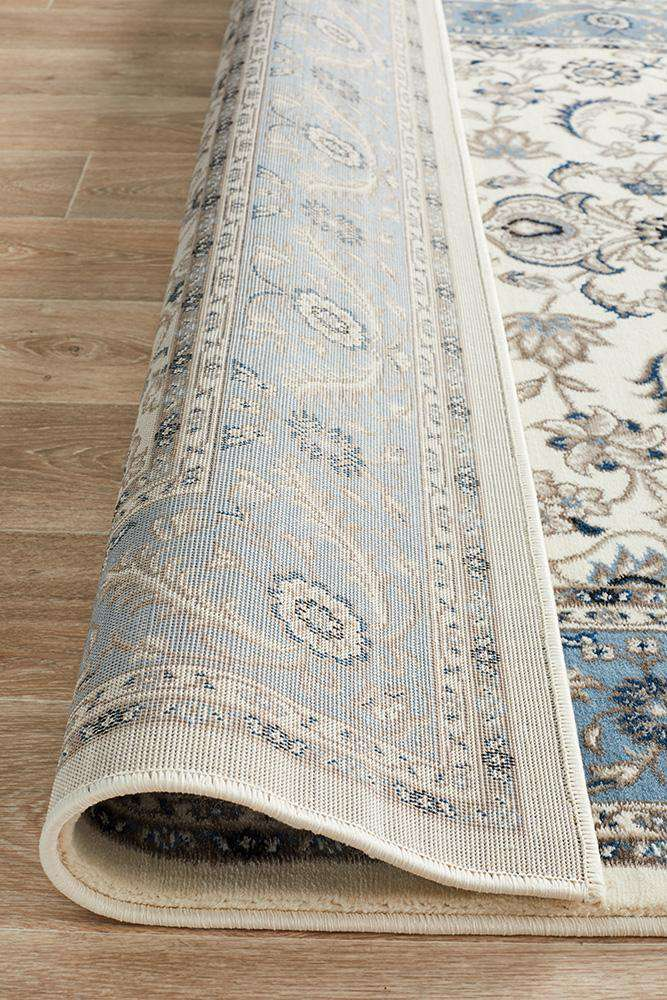 Sydney Collection Medallion Rug White With Blue Border