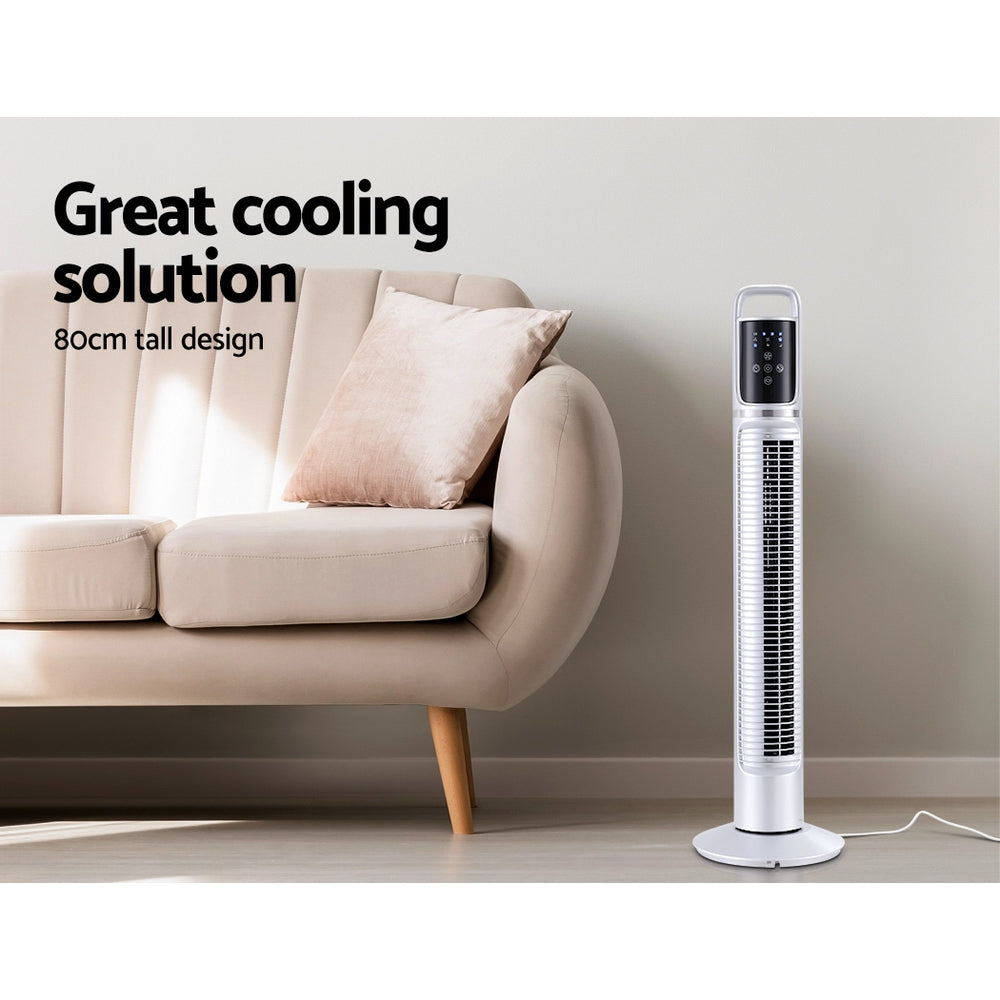 80cm Tower Fan Bladeless Fans Oscillating W/Remote Timer White