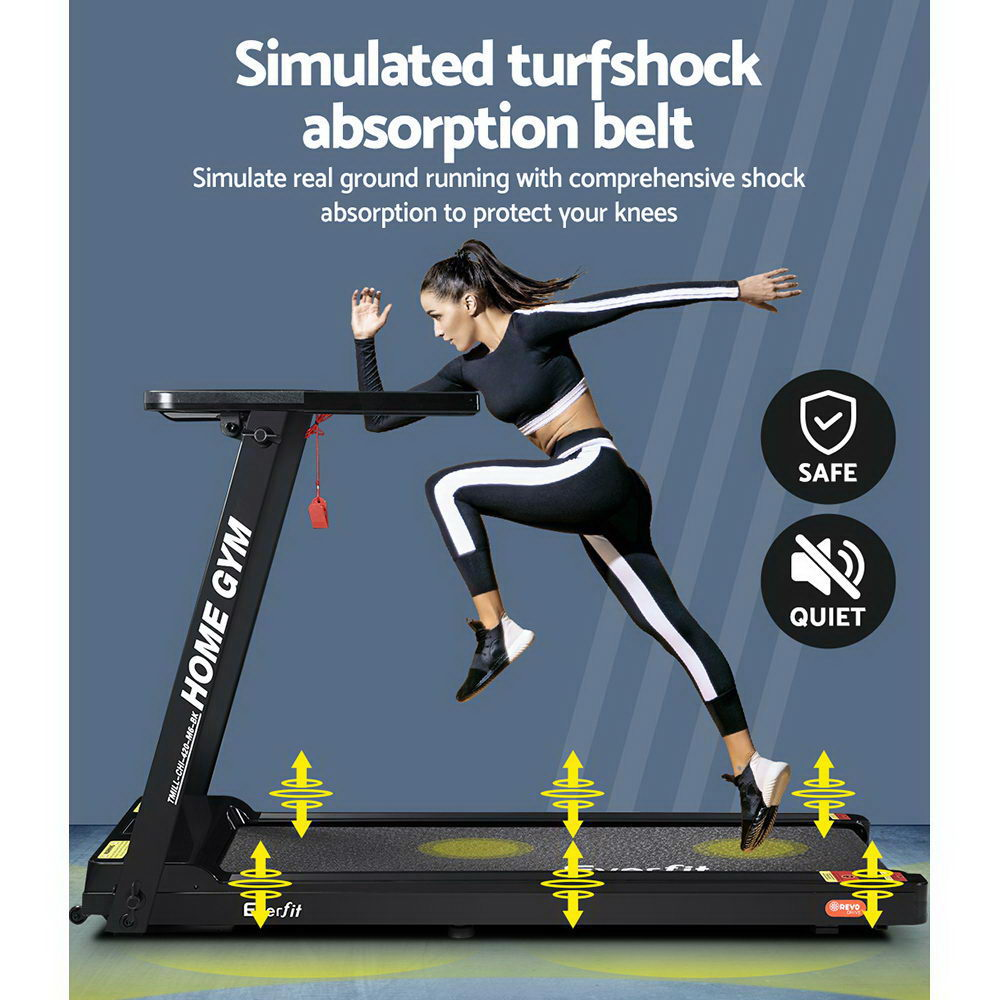 Everfit Electric Treadmill Fully Foldable 420mm Belt Black