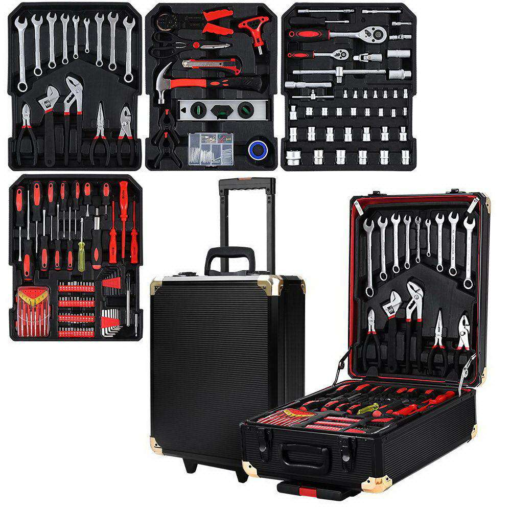 Giantz 802pcs Tool Kit Trolley Case Set Mechanics Box Toolbox Black