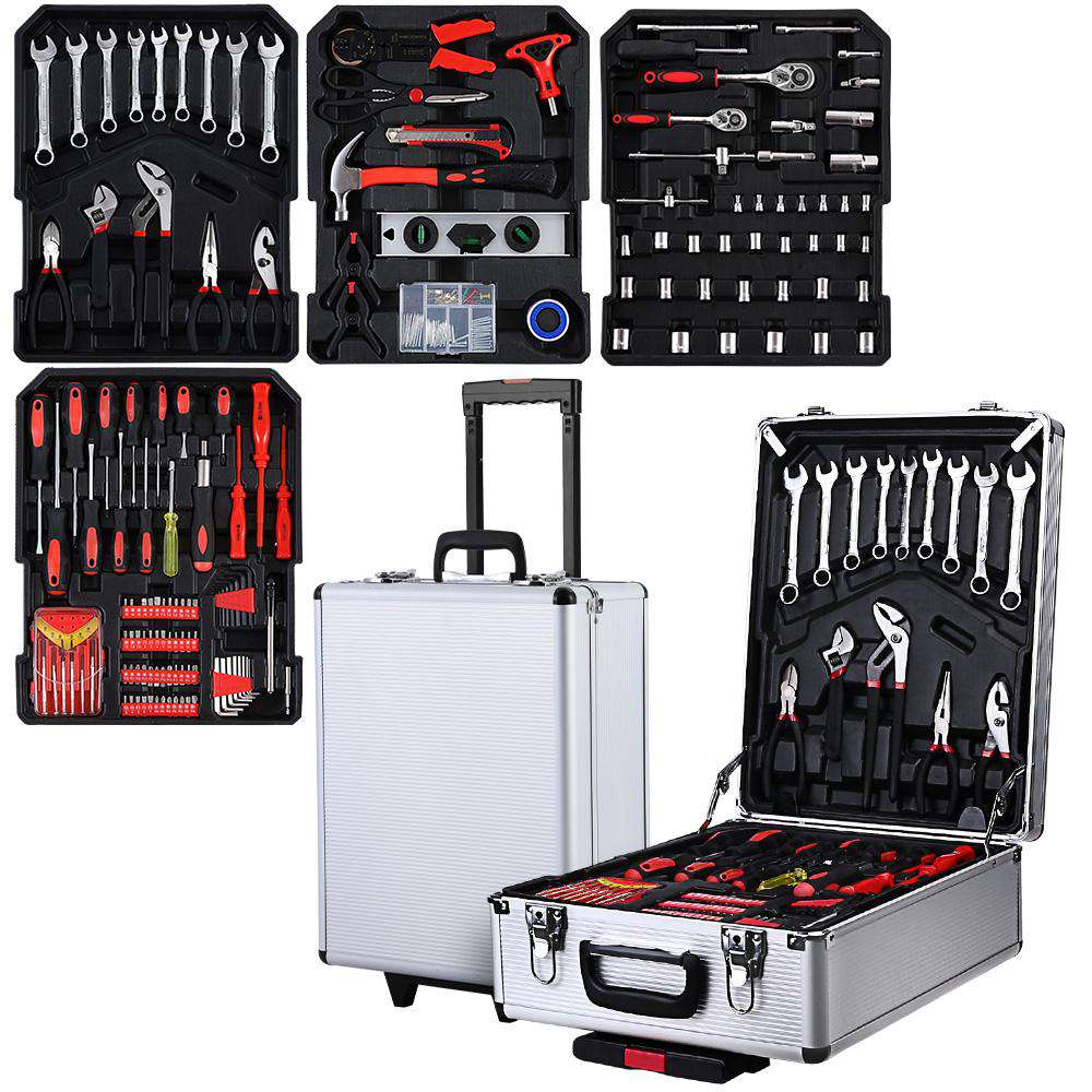 Giantz 802pcs Tool Kit Trolley Case Set Mechanics Box Toolbox Silver