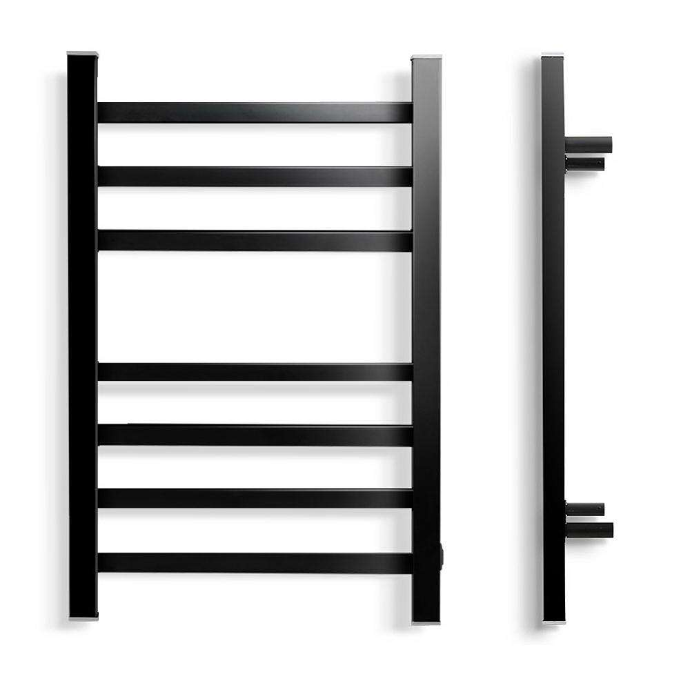 Heated Towel Rail Ladder Electric Warmer Heater 7 Bars Black