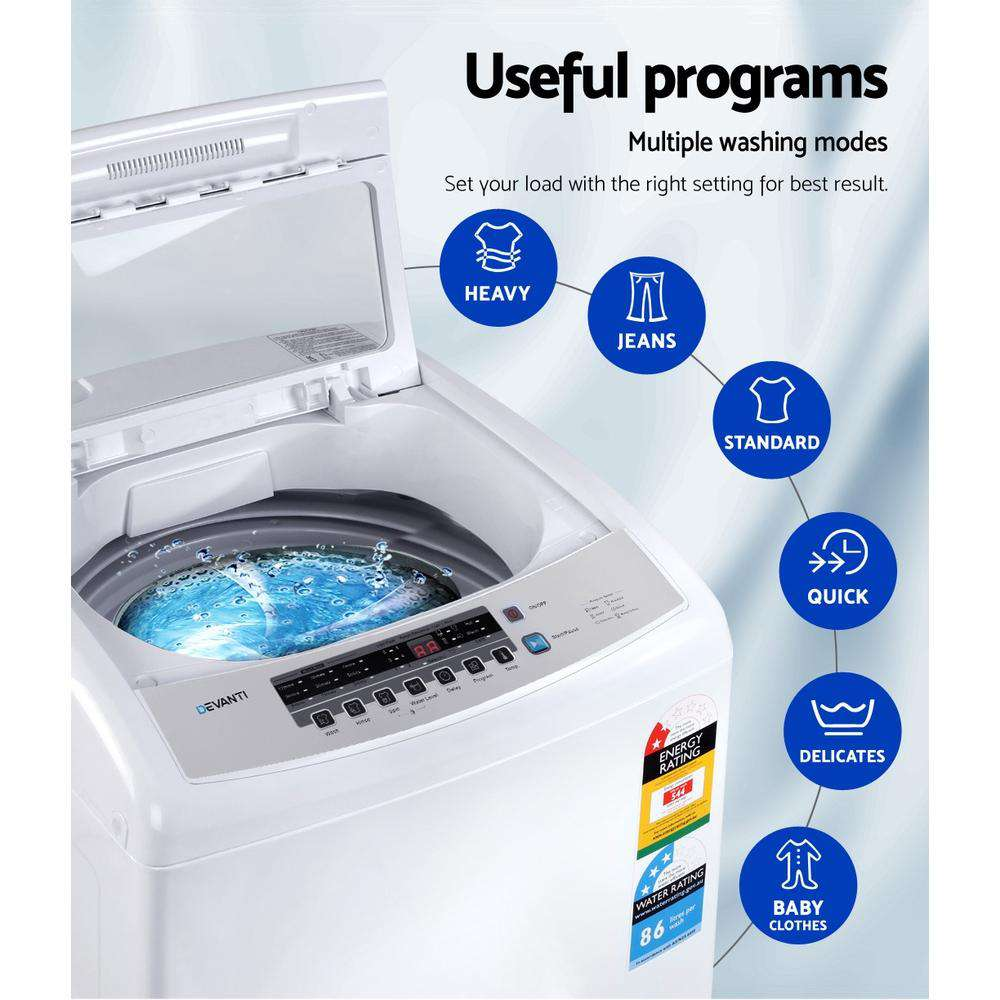 Devanti 10kg Top Load Washing Machine