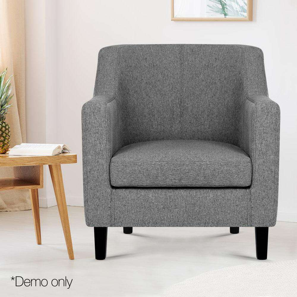 Artiss Fabric Dining Armchair - Grey