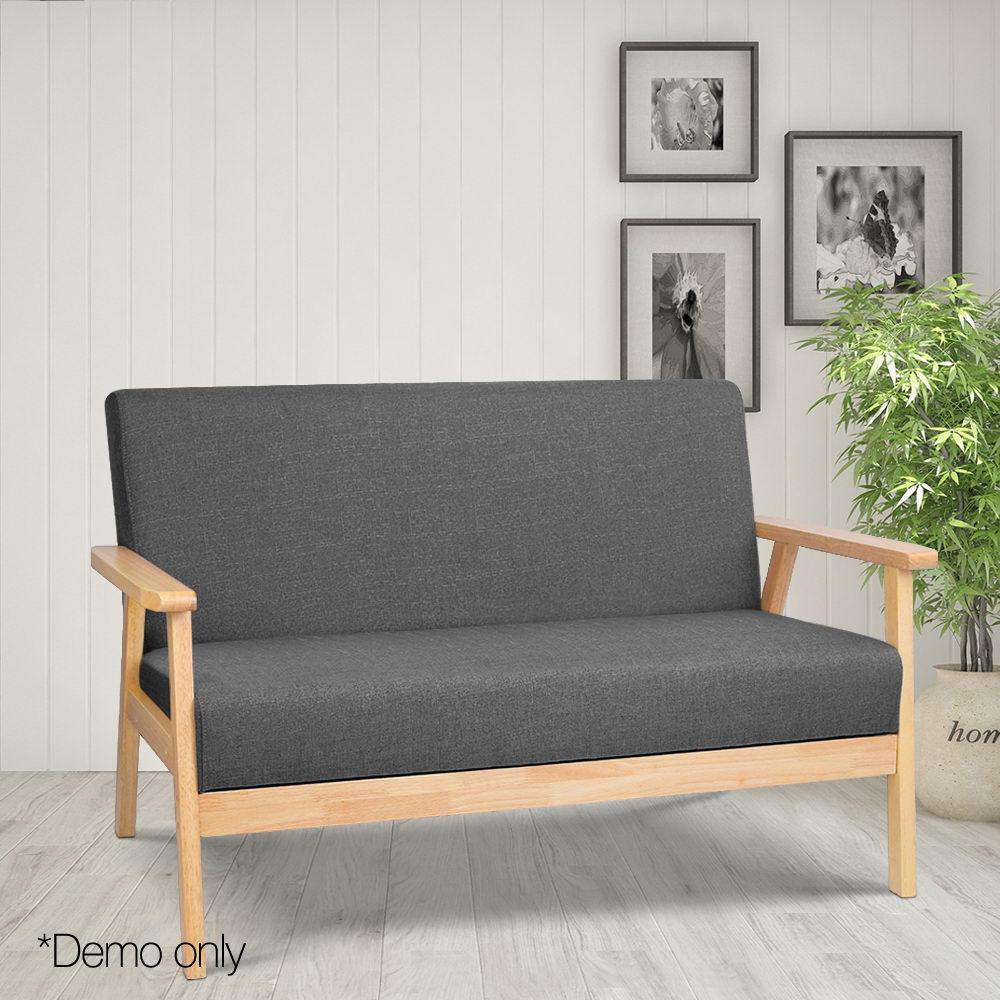 2-Seater Fabric Sofa Couch Grey - Desirable Home Living