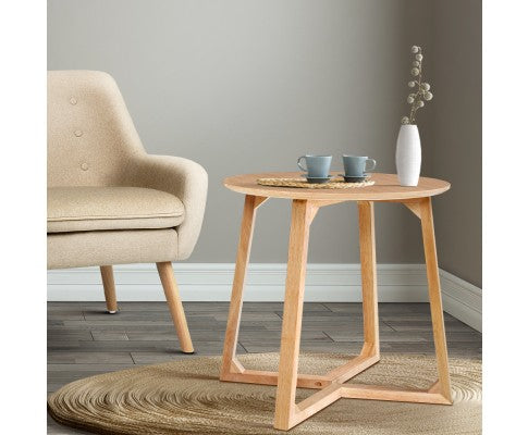Artiss Coffee Table Round Beige