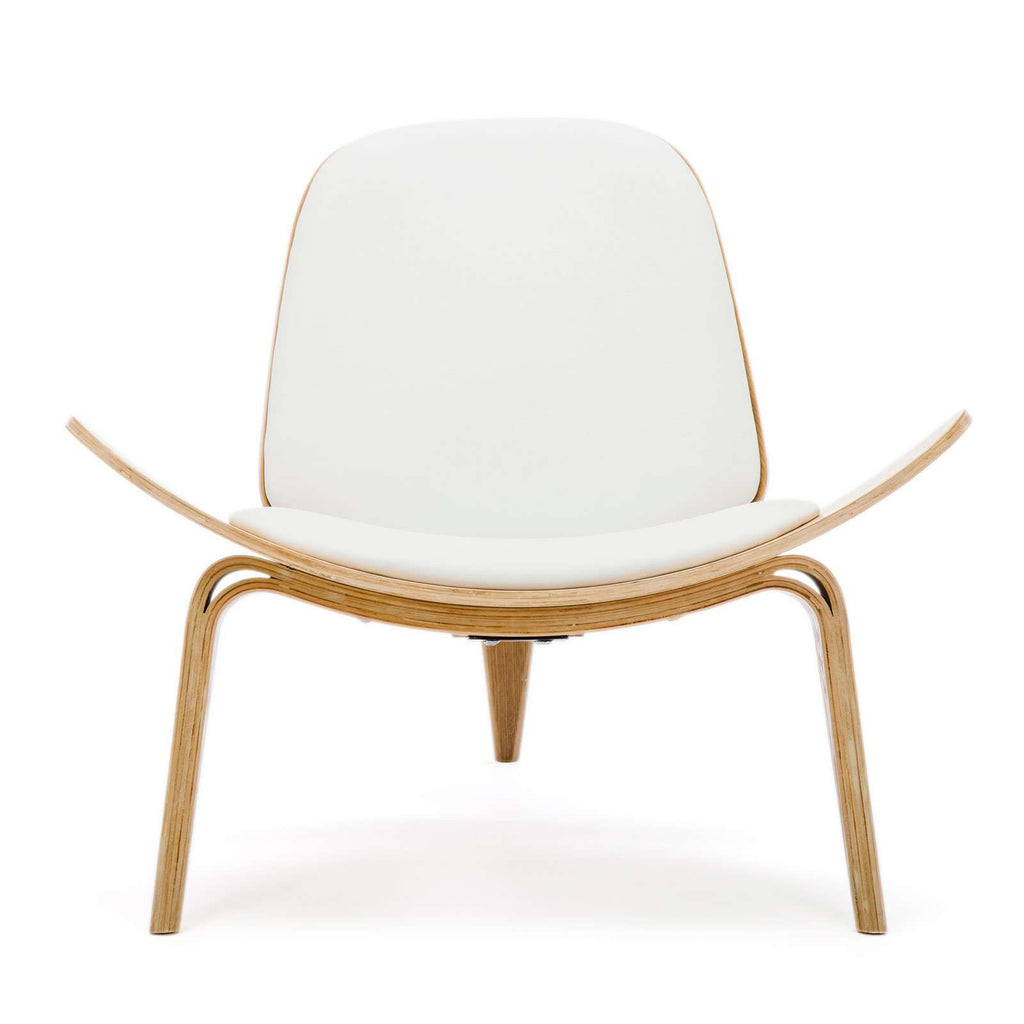 Replica Hans Wegner Shell Chair - White Top Layer Genuine Leather / Ash Wood