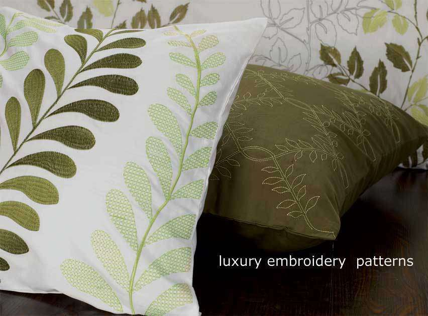Super King Size Green Leaf Embroidery Quilt Cover Set (3PCS)