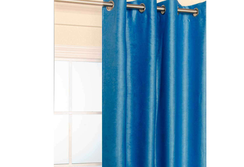 Blue Blockout Eyelet Curtain 140x221cm