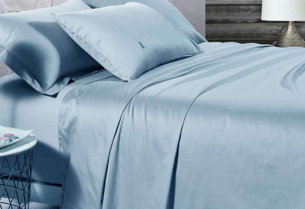 King Single Size 500TC Cotton Sateen Fitted Sheet (Blue Color)