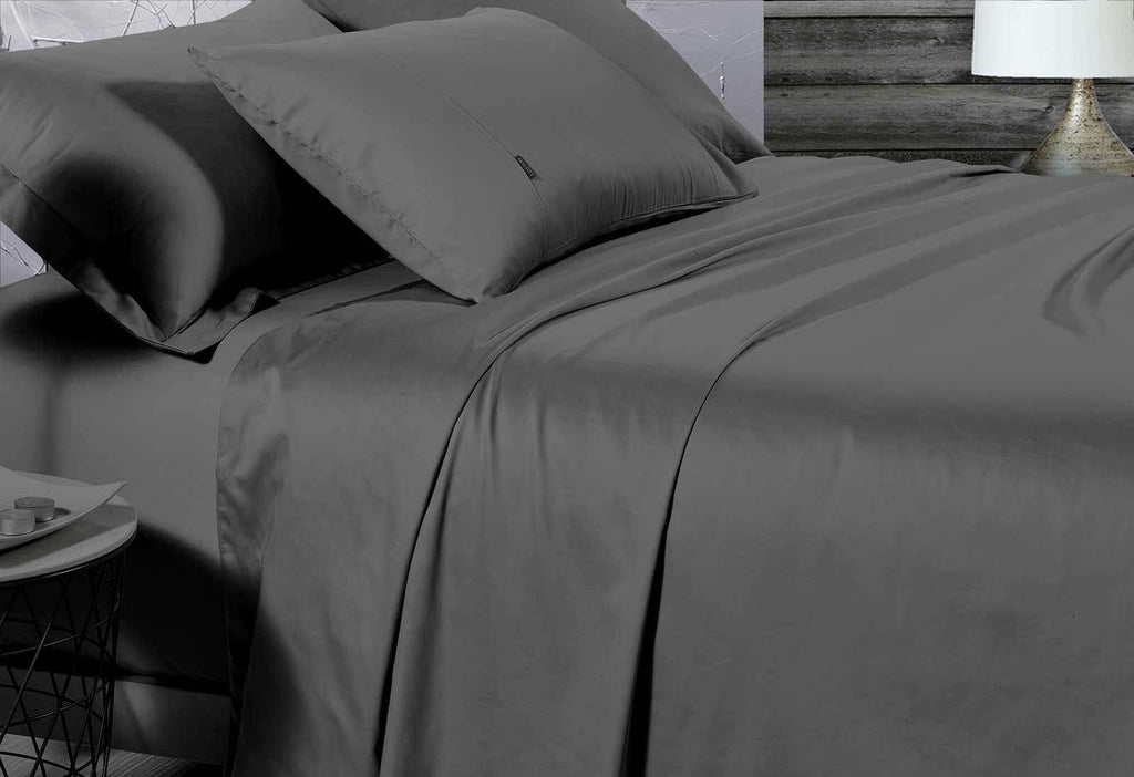King Size 500TC Cotton Sateen Fitted Sheet (Charcoal Color)
