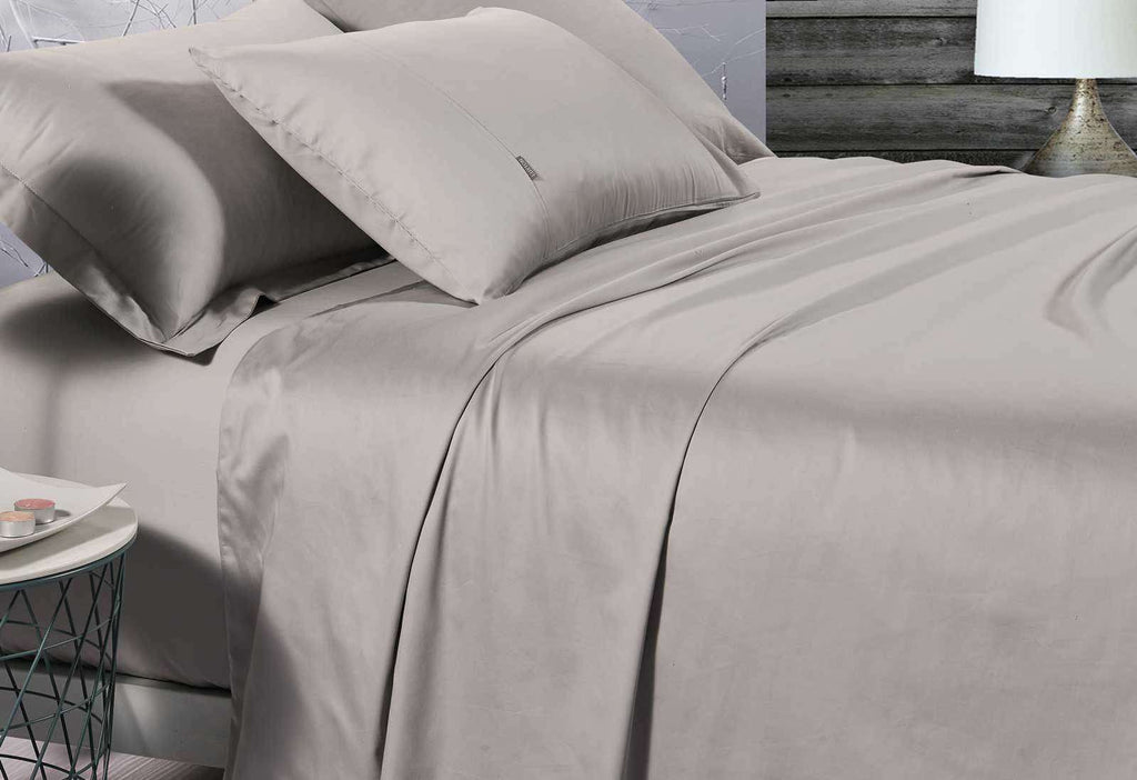 Queen Size 500TC Cotton Sateen Fitted Sheet (Linen Color)