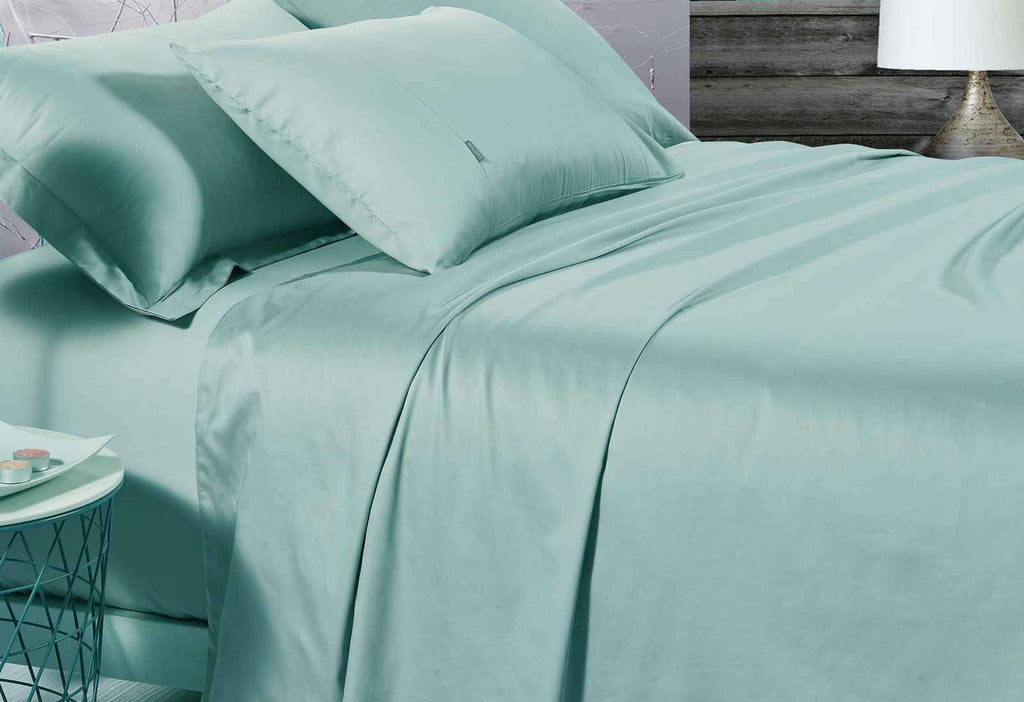 King Size 500TC Cotton Sateen Fitted Sheet (Mint Color)