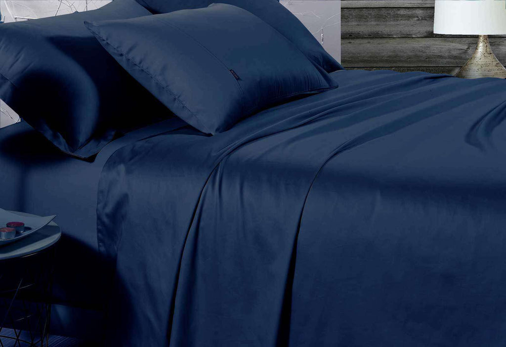 Queen Size 500TC Cotton Sateen Fitted Sheet (Navy Color)