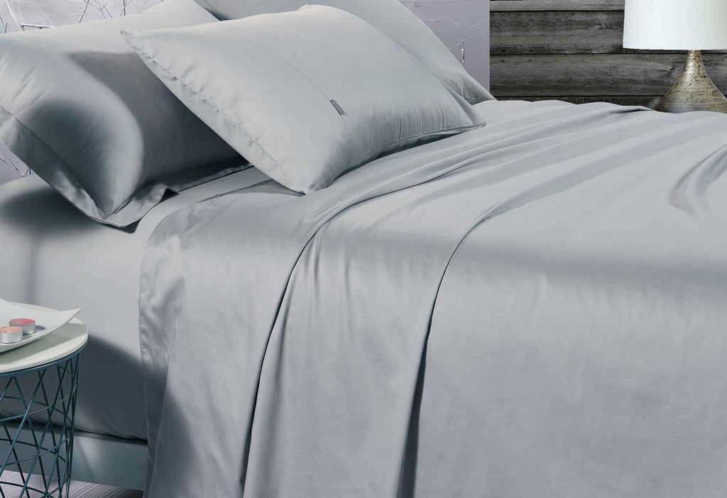 King Size 500TC Cotton Sateen Fitted Sheet (Silver Color)