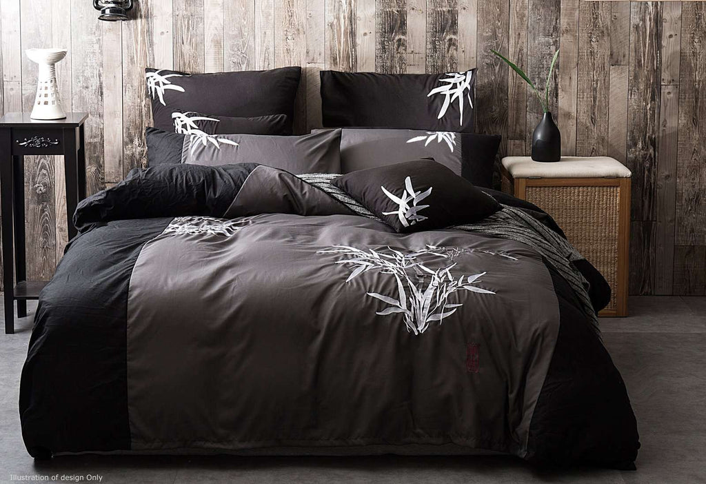 Super King Size Embroidered Bamboo Pattern Black Grey Quilt Cover Set (3PCS)