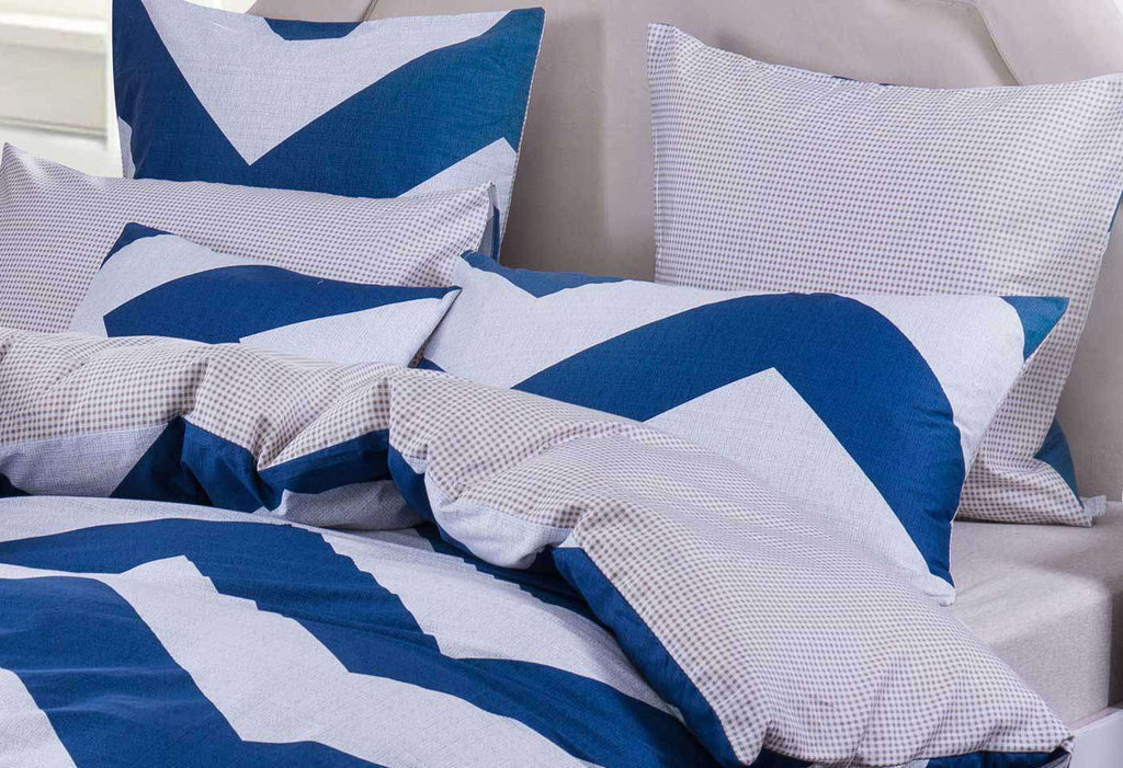 King Size Wide blue Zig Zag Quilt Cover Set(3PCS) - Desirable Home Living