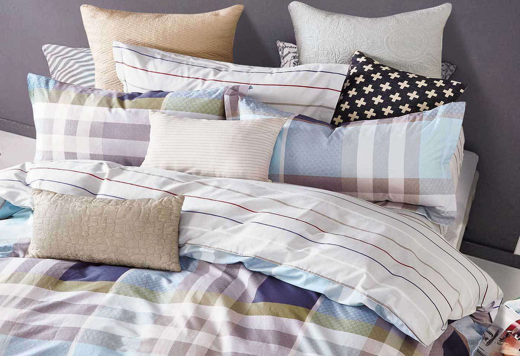 King Size Rectangle and Strips Pattern Quilt Cover Set(3PCS) - Desirable Home Living