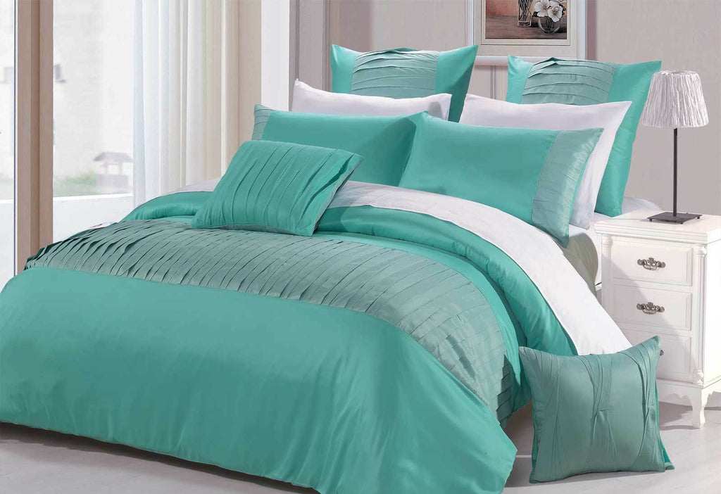 Queen Size 3pcs Turquoise Aqua Tuck Fold Fabric Quilt Cover Set