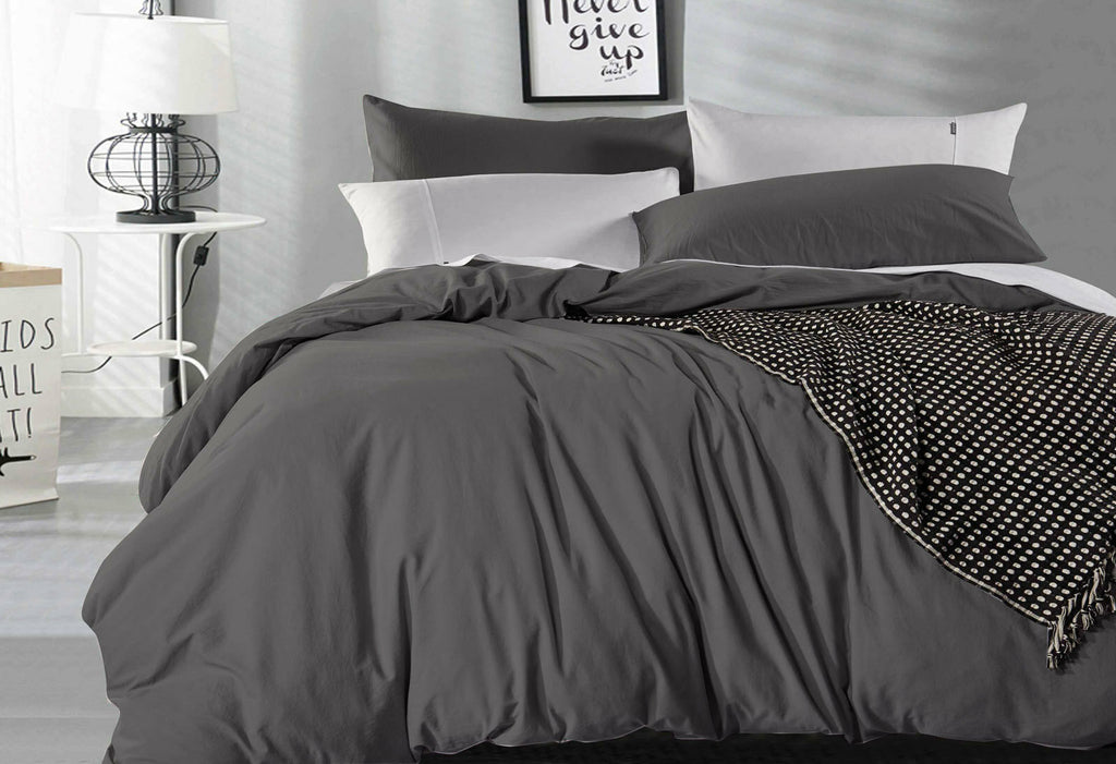 King Size Charcoal Vintage Washed Cotton Quilt Cover Set(3PCS)