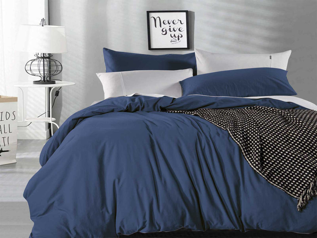 King Size Indigo Vintage Washed Cotton Quilt Cover Set(3PCS)