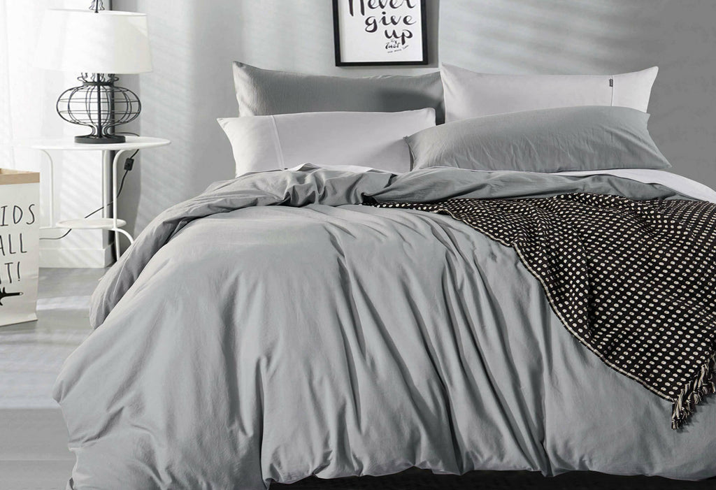 King Size Pewter Vintage Washed Cotton Quilt Cover Set(3PCS)