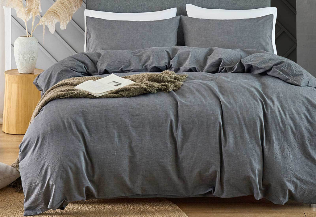 King Size Grey Vintage Washed Cotton Quilt Cover Set(3PCS)