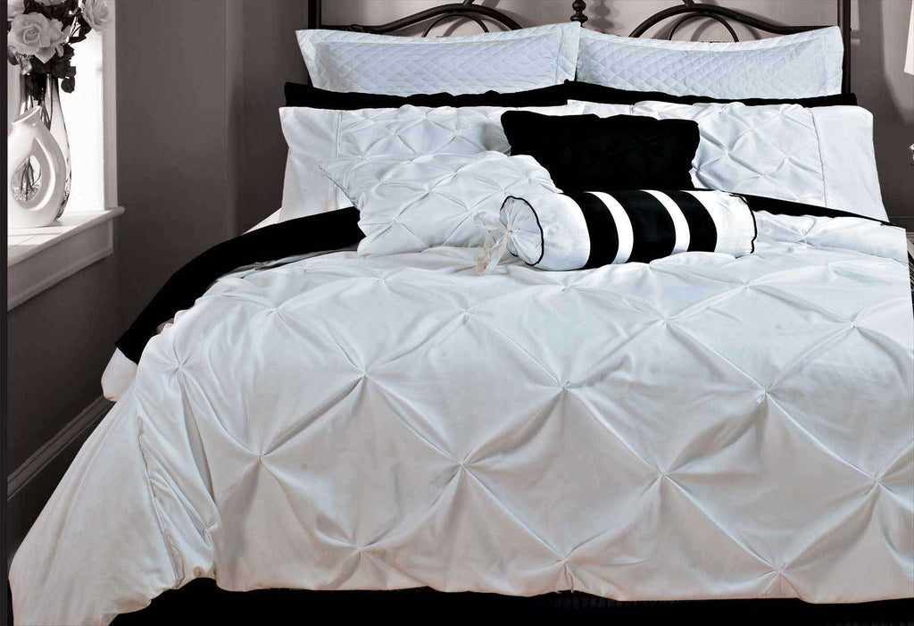 Super King Size White Diamond Pintuck Quilt Cover Set(3PCS)