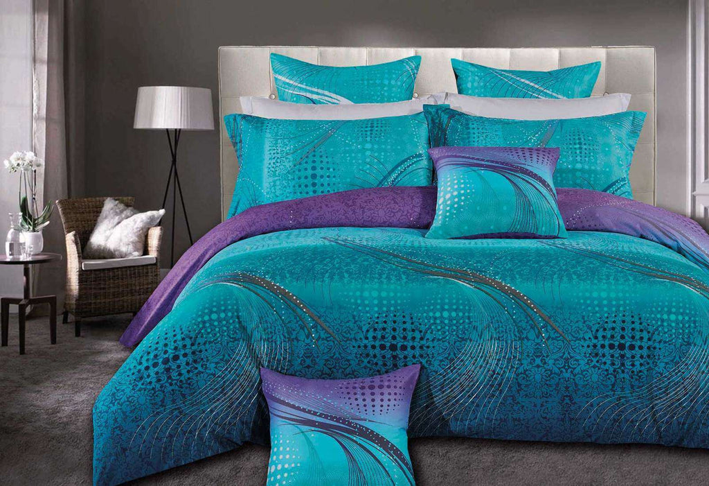 King Size Turquoise Aqua and Purple Quilt Cover Set(3PCS)