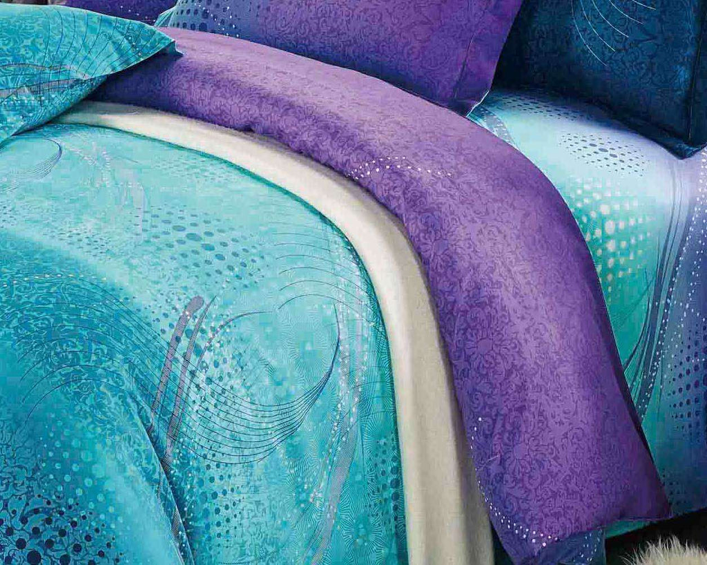 King Size Turquoise Aqua and Purple Quilt Cover Set(3PCS) - Desirable Home Living