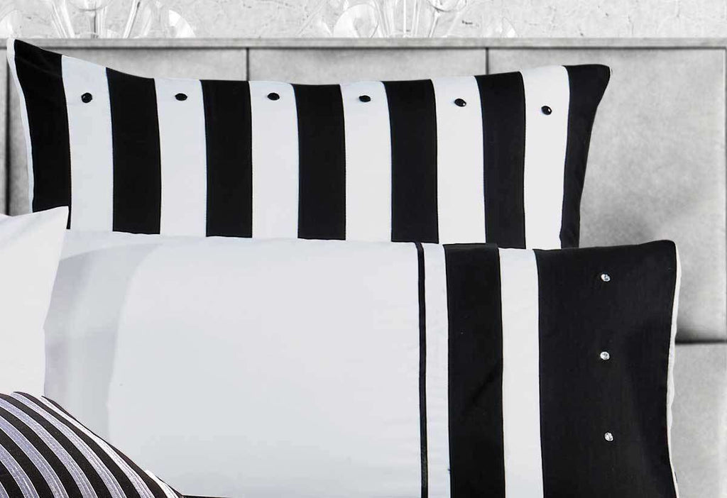 Super King Size Black White Striped Quilt Cover Set(3PCS) - Desirable Home Living