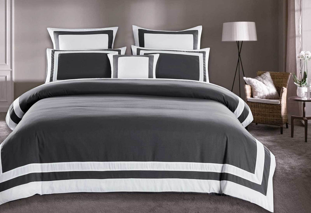 King Size White Square Pattern Charcoal Grey Quilt Cover Set (3PCS)