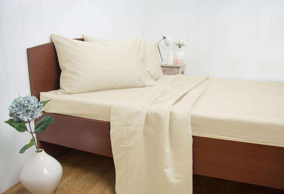 Queen Size 1500TC Cotton Rich Sheet Set (Cream Color)