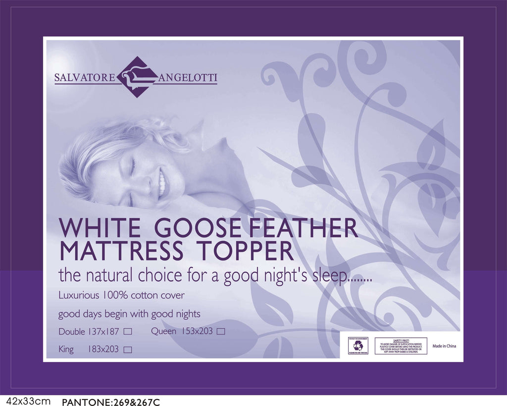 Single Mattress Topper - 100% Goose Feather - Desirable Home Living