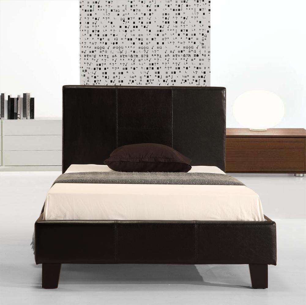 Single PU Leather Bed Frame Black - Desirable Home Living