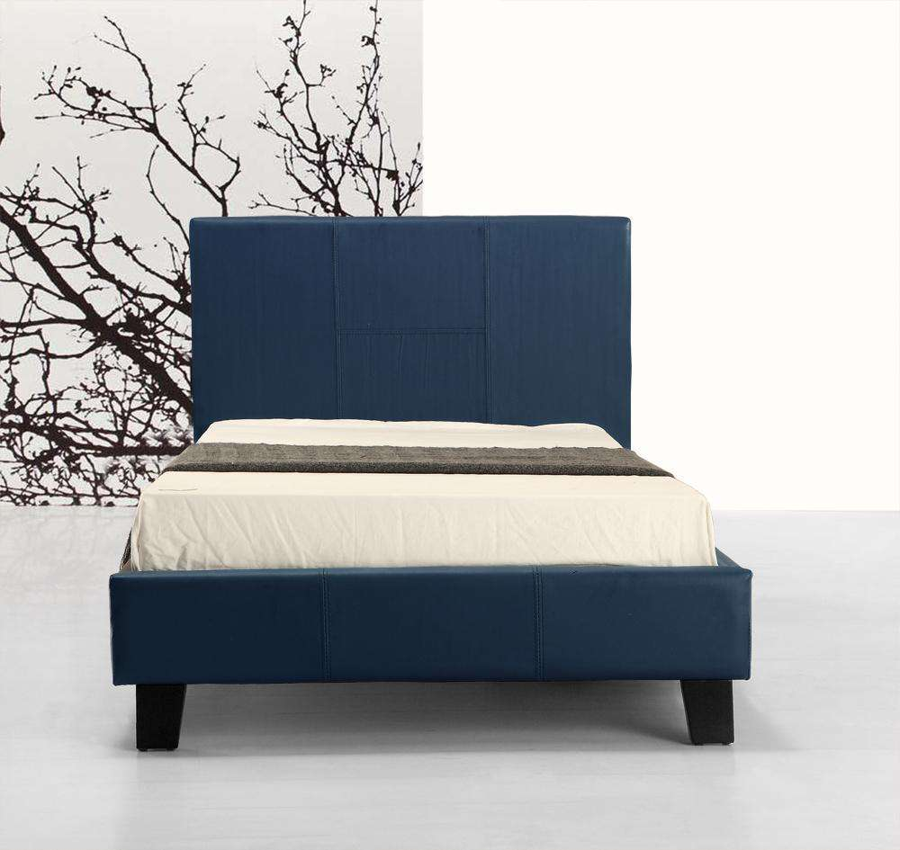 Single PU Leather Bed Frame Blue - Desirable Home Living