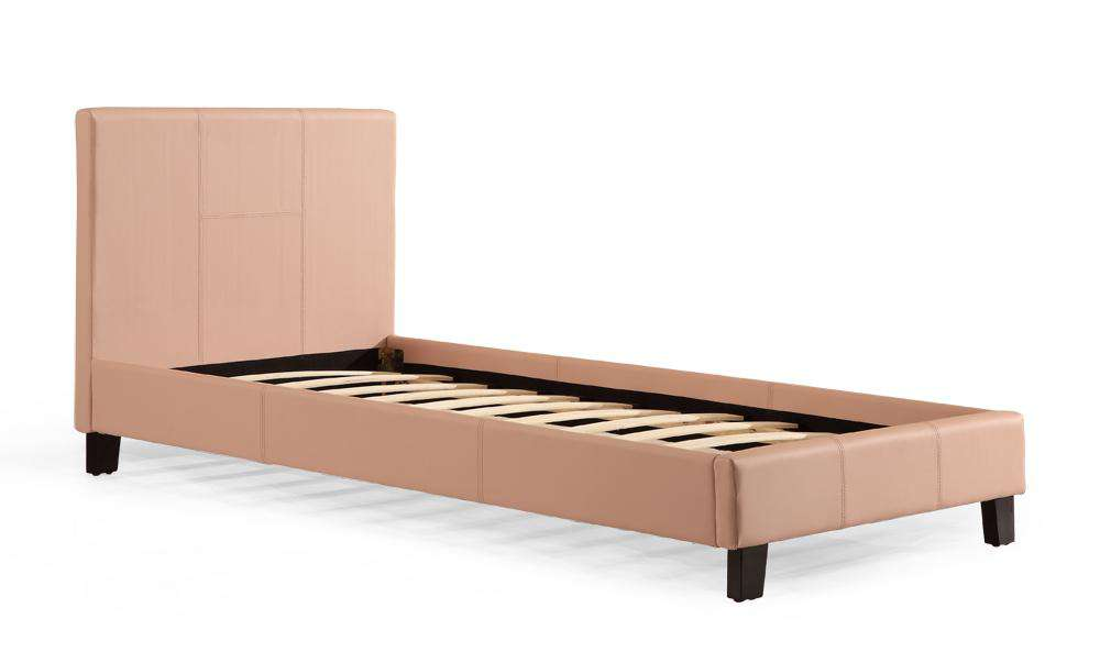 Single PU Leather Bed Frame Pink - Desirable Home Living