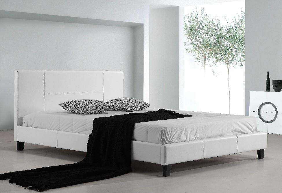 Double PU Leather Bed Frame White