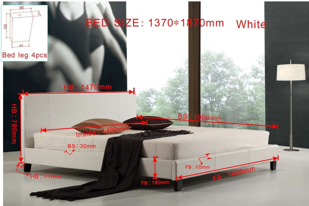 Double PU Leather Bed Frame White - Desirable Home Living