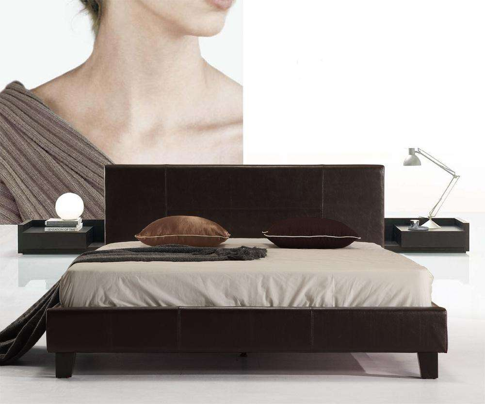 Double PU Leather Bed Frame Brown - Desirable Home Living