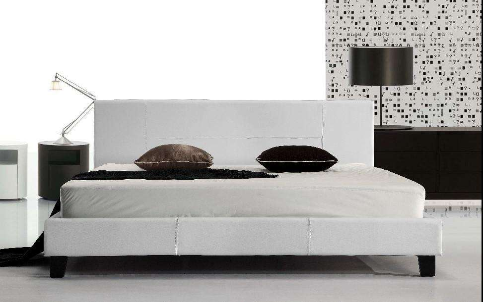 King PU Leather Bed Frame White - Desirable Home Living