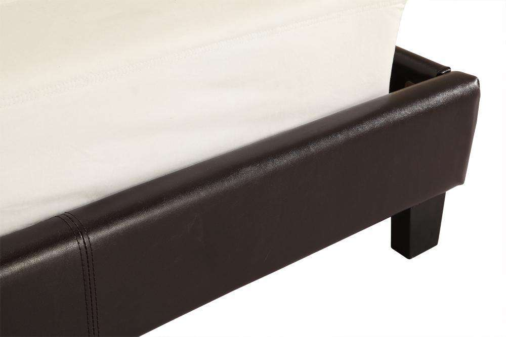 King PU Leather Bed Frame Brown - Desirable Home Living