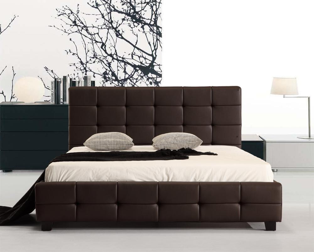 Double PU Leather Deluxe Bed Frame Brown - Desirable Home Living
