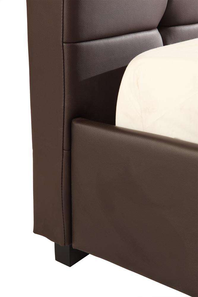 Queen PU Leather Deluxe Bed Frame Brown - Desirable Home Living