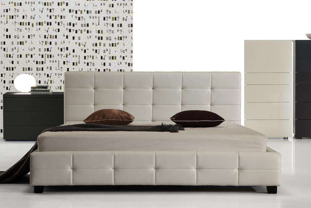 King PU Leather Deluxe Bed Frame White - Desirable Home Living