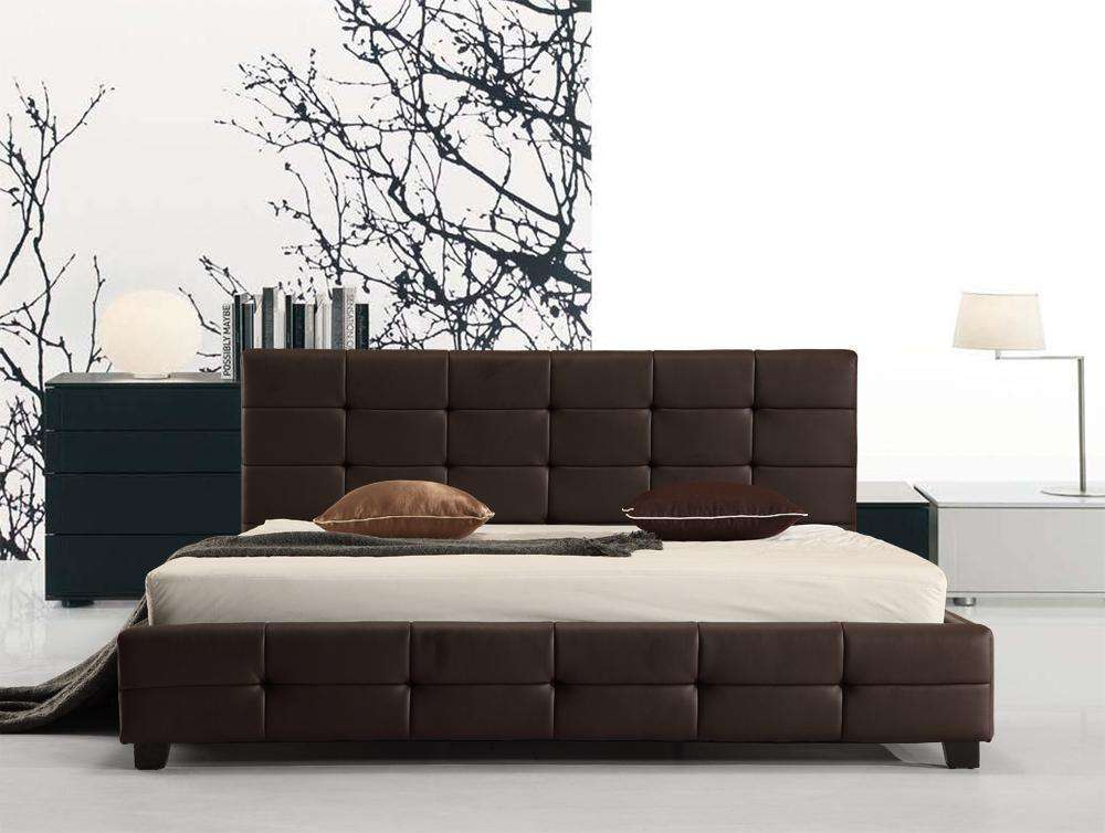 King PU Leather Deluxe Bed Frame Brown - Desirable Home Living
