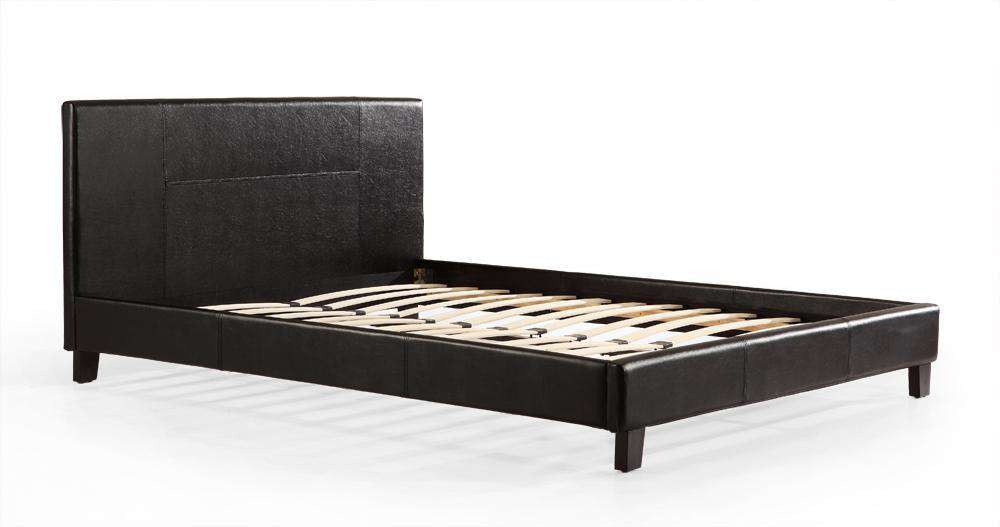 Queen PU Leather Bed Frame Black - Desirable Home Living