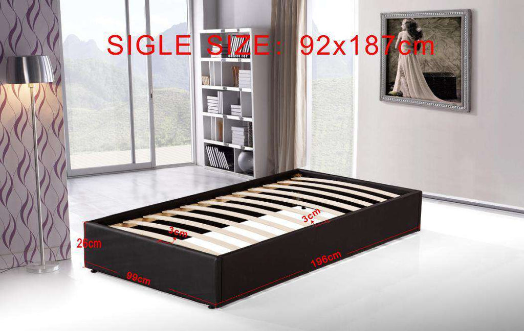 PU Leather Single Bed Ensemble Frame - Desirable Home Living