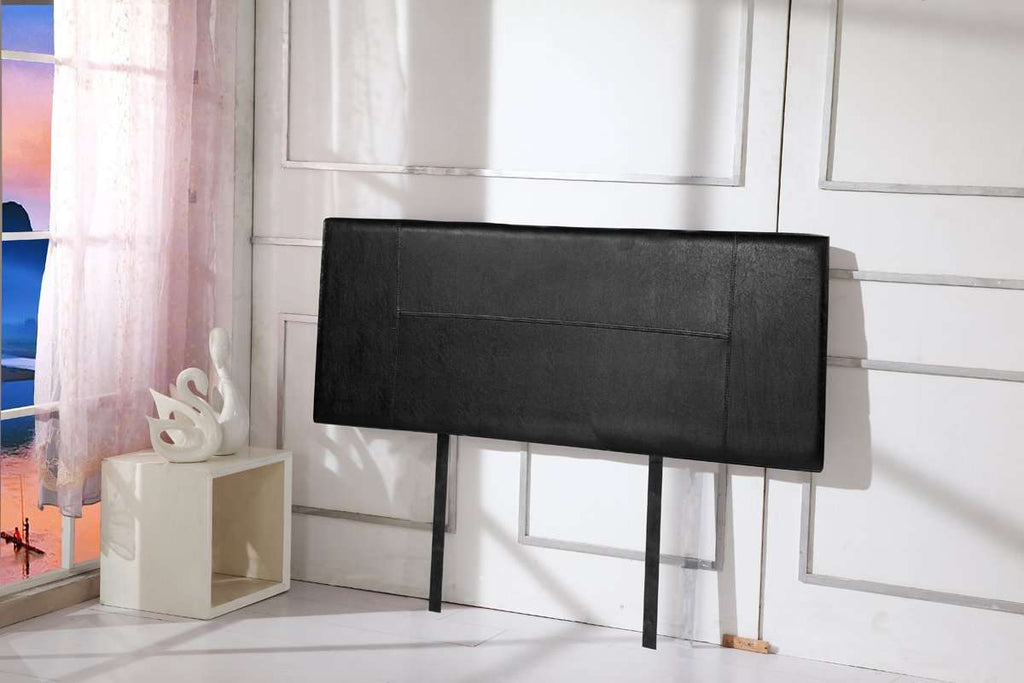PU Leather Double Bed Headboard Bedhead - Black - Desirable Home Living